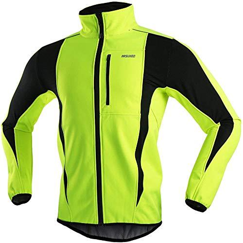 JXTEAM Chaquetas de Ciclismo de Invierno para Hombres Chaqueta Térmica para Correr Chaqueta Cortavientos Transpirable a Prueba de Viento-Verde_L
