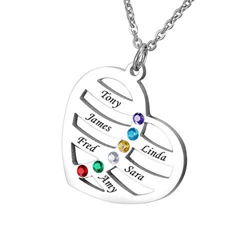 HOUSWEETY Namenskette Edelstahl Halskette mit Geburtssteinen - Personalisiert mit 6 Namen