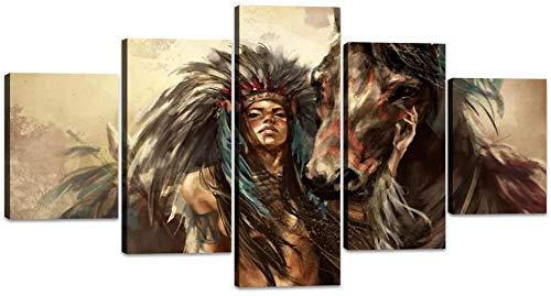 Looaceo Póster Imagen De La Pared Pintura Moderna Arte 5 Panel Decoración Moderna De 5 Piezas Para Nativos Americanos Imágenes De Jefes Indios Indios Nativos Con Pintu 78,7 * 39 pulgadas 200 * 100 cm