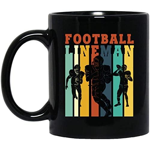 NA Tasse à café en céramique 11 oz Joueur défensif offensif rétro de Joueur de Ligne de Football