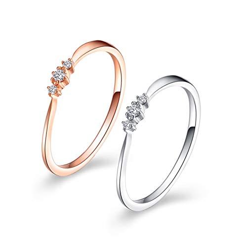 Ubestlove Freundschaftsringe In Gold Reihenbohrer Verlobungsring Mit Gravur 0.03Ct Diamant Ringe Größe 56