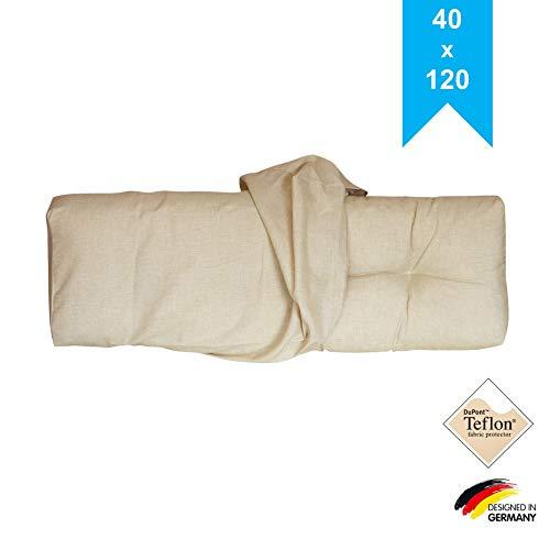 LILENO HOME Palettenkissen Bezug Beige - Ersatzbezug für Rückenkissen 120 x 40 x 20 cm - Polster Bezug für Europaletten - Palettenkissen Outdoor Hülle für Palettenmöbel