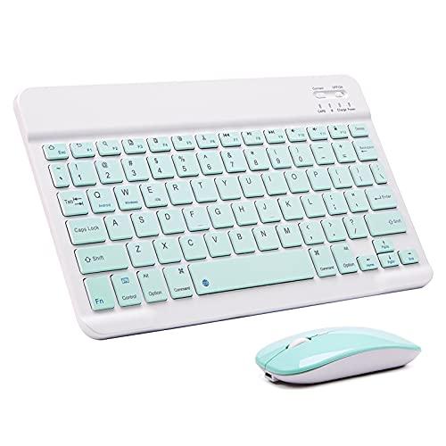 Teclado y Mouse inalámbrico, Mini Teclado inalámbrico Bluetooth Keyboard Mouse Adecuado para Tableta Android iPad 9.7 10.5 (Color : 10inch Green Set)