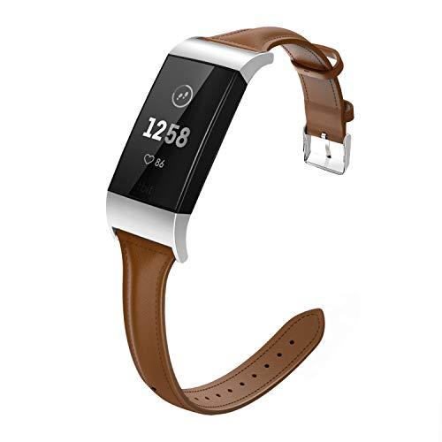 MoKo Compatible con Fitbit Charge 3 / Charge 4 Watch Cinturino, Braccialetto di Ricambio in Vera Pelle per Fitbit Charge 3 / Charge 4, Taglia larga - Marrone