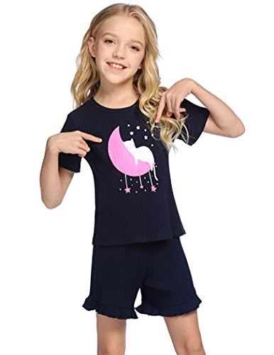 Bricnat Shlafanzug Kinder Mädchen Katze Kurz Baumwolle 134 140 Pyjama Kinder Mädchen Zweiteilig Kurzarm Weiche Nachtwäsche Cute Outfit Set Frühling Sommer Dunkelblau