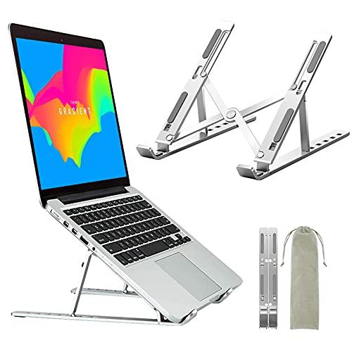 Supporto PC Portatile,Ozvavzk Supporto Pieghevole per Laptop in Alluminio Leggero e stabile,Stand Computer Regolabili con Raffreddamento Ventilato per MacBook Air dell XPS HP Lenovo10-15.6 Pollici