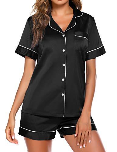 Ekouaer Satin Pjs Women's Summer Cozy Button Up Pajama Set Short Sleeve Loungewear Silk Two Piece Sleep Set (Black,XL)