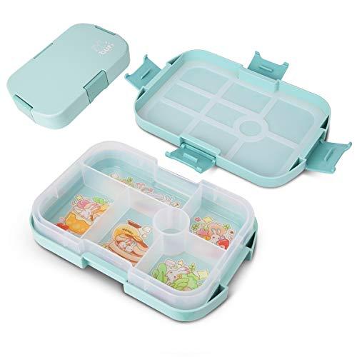 Lunchbox für Kinder Brotdose mit Fächern, Robuste Bento Box Auslaufsicher Brotzeitbox, Vesperdose Mikrowellen BPA-Frei, Kindergarten Jausenbox Lunchbox für Schule/Arbeit/Picknick Reise Junge (grün)