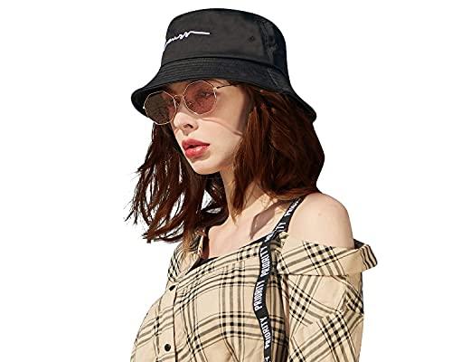 CACUSS(カクスー) バケットハット 男女兼用 ハットuv コットン おしゃれ 渔夫帽 白 黒 無地 帽子 刺繍 2サイズ (PM021黒小)