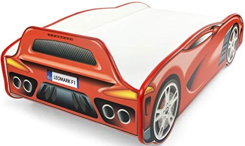 Leomark Autobett Kinderbett - Sport CAR - Einzelbett mit Matratze, Rausfallschutz Lattenrost, Holzbett Schlafbereich 70/140 cm, Juniorbett aus Holz, TRAUMBETT für Kinder, ROTE Farbe