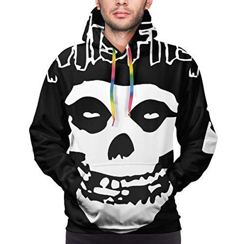 Tengyuntong Hombre Sudaderas con Capucha, Sudaderas, The Misfits Man Cotton 3D Print Long Sleeve Hoodie Sweatshirt Black