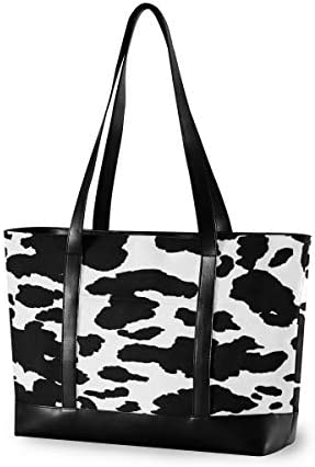 MOFEIYUE Laptop Tote Bag 15 6 Inch Animal Cow Print Canvas Shoulder Bag Large Handbag Women product image