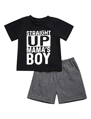 Toddler Baby Boys Clothes Straight Up Mama's Boy T-Shirt and Shorts Outfit Set (C-Black, 12-18 Months)