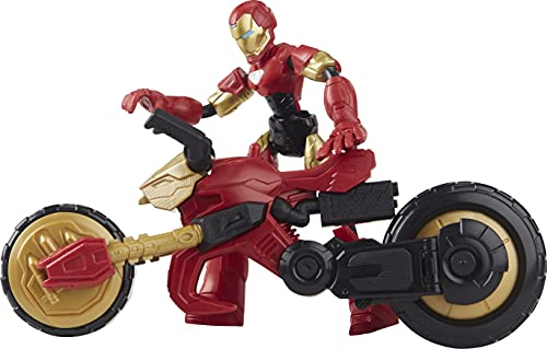 Marvel Bend and Flex, Flex Rider Iron Man Action Figure Toy, 6-Inch Flexible Figure and 2-in-1 Motorcycle for Kids Ages 6 and Up