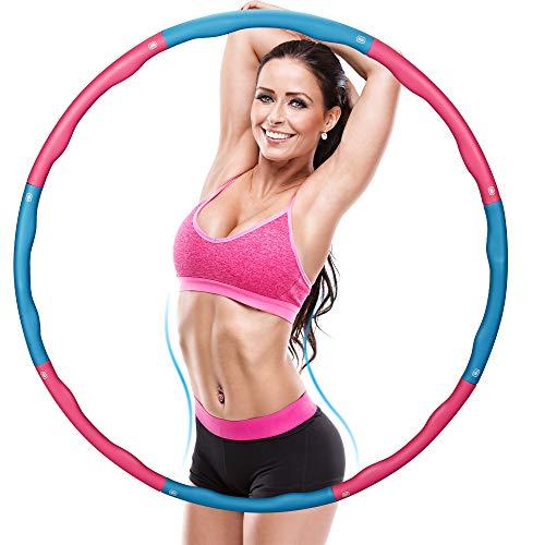 Fitnesskreis Reifen, Hoops Hula zur Gewichtsreduktion und Massage Verwendet Werden KöNnen, 6-8 Segmente Fitnessübungen Abnehmbarer Gymnastik Kreis Schaumbeschichtung mit Massageknopf, ca 1.1 kg