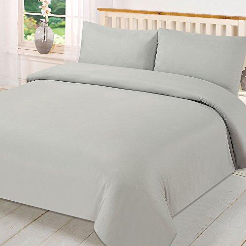 Brentfords Plain Dye Duvet Quilt Cover with Pillow Case Bedding Set - Grey, Single
