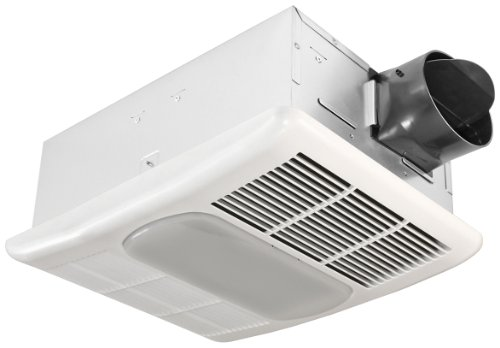 Delta BreezRadiance RAD80L 80 CFM Exhaust Bath Fan with Light and Heater, White, Small