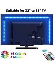 LED テープライト RGB テレビバックライト 0.5Mx4本 間接照明 5050SMD USB式 RFリモコン付き 3M強力粘着テープ イルミネーション クリスマス飾り パーティー 雰囲気作り