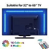 LE 2M USB Striscia LED con Telecomando RF per Retroilluminazione TV, Luci d'atmosfera RGB 16 Colori Dimmerabili, Strisce Illuminazione SMD 5050 per 32