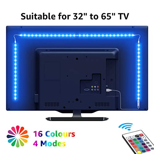 LE TV Backlights, 2M USB LED Light Strip met RF Remote, Dimbare RGB Mood Lights, SMD 5050 Bias Lighting voor 32-65
