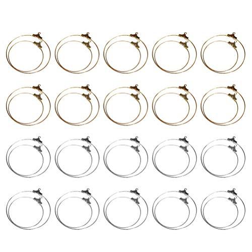 Healifty 40 piezas de plata y oro círculo redondo pendientes de aro de metal copa de vino anillos de joyería joyería suministros suministros pendiente pendiente