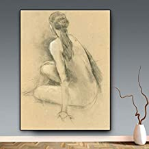 KFEKDT Black and White Sexy Woman Abstract Oil Painting on Canvas Sexy Naked Backs Posters and Prints Wall Art Picture Room (Frameless) A3 50x90CM