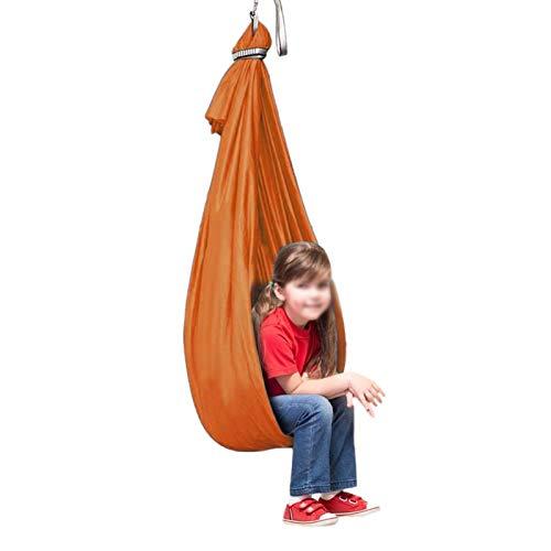 ZCXBHD Hamaca de malla transpirable para terapia de autismo con necesidades especiales para niños con autismo, hiperactividad, color naranja