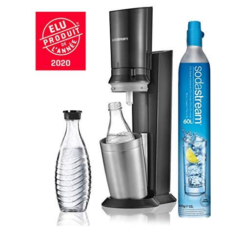 Sodastream Pack Spécial Machine Crystal en Alu brossé Gris/Noir + 2 Carafes en Verre de 0.6L...
