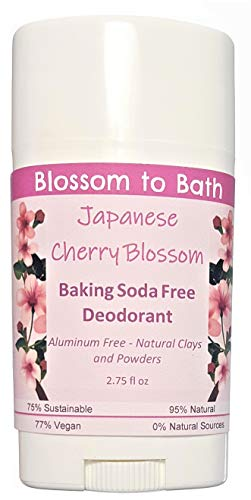 Japanese Cherry Blossom Baking Soda Free Deodorant (2.75 ounce) - Musky and Sweet Cherry Blossoms - Aluminum Free - Natural Clays and Powders. Made in USA by Blossom to Bath