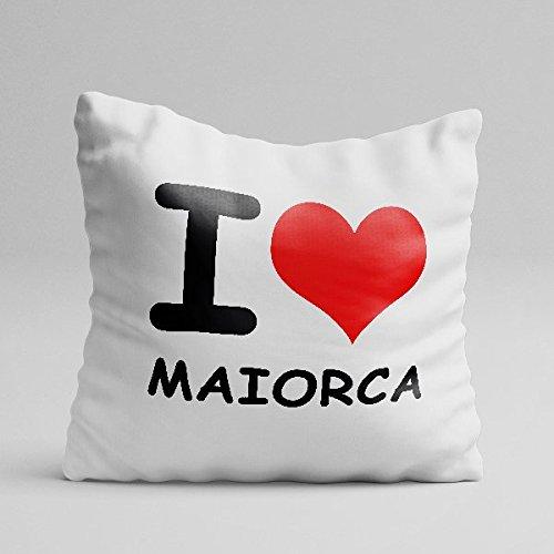 ALLINONE Cuscino Personalizzato in Cotone I Love MAIORCA IO Amo LA MIA Citta' I Love My City Idea Regalo