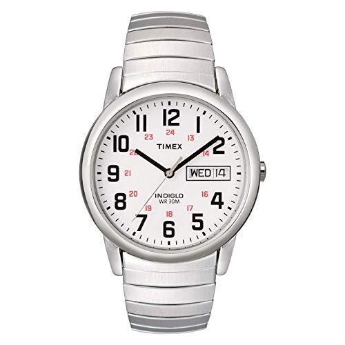 Timex Men's T20461 Easy Reader 35mm Silver-Tone Stainless Steel Expansion Band Watch