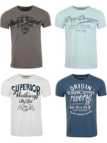riverso RIVLeon Lot de 4 t-Shirts à Col Rond pour Homme T-Shirt imprimé à Manches Courtes 100% Coton Coupe Normale Vert Bleu Blanc Gris Rouge Orange S M L XL 2XL 3XL 4XL 5XL - Multicolore - Small