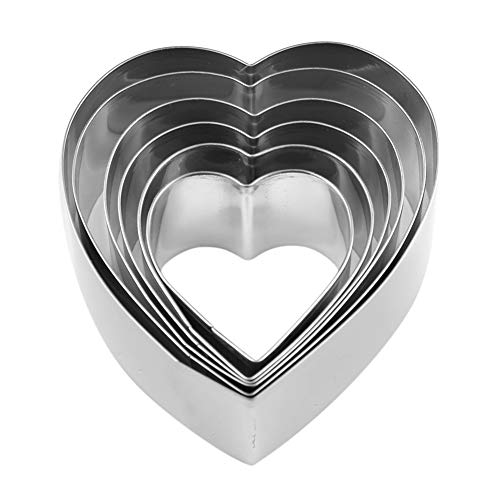 Heart Shape Cookie Cutter Set - 6 Pieces Valentine's Day Gift Stainless Steel Biscuit Pastry Cutters