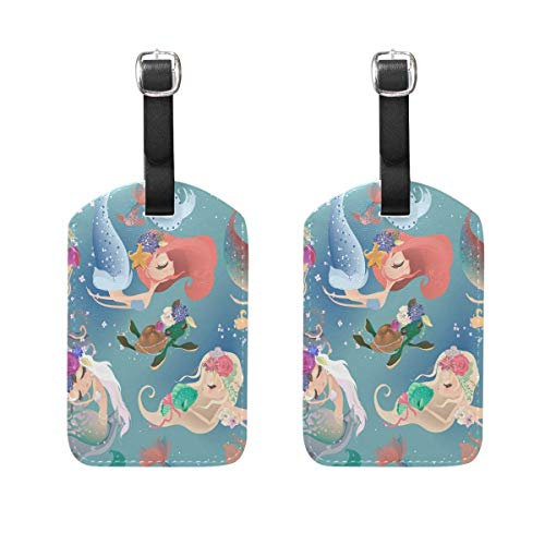 2PCS Travel Leather Luggage Tags Bag Suitcase Tags Baggage Tag Handbag Tag with Full Back Privacy Cover TAG-1587