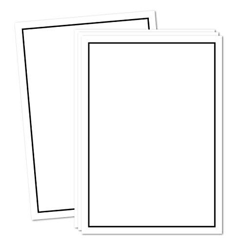 50x Trauer-Papier DIN A5 Kondolenz-Papier Weiß mit schwarzem Trauer-Rand I 148 x 210 cm I geeignet für Laser und Tinenstrahl Drucker I TrauerPapiere by Gustav NEUSER®