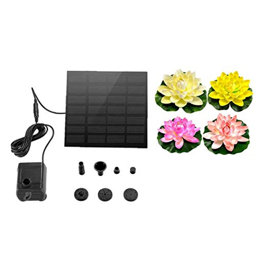 Solar Water Fountain Pump Mini Floating Fountain is Suitable for Garden Pond, Artificial Floating Lotus Lily Floating Flower Pond Pond Fish Tank Landscape Multifunction Pump