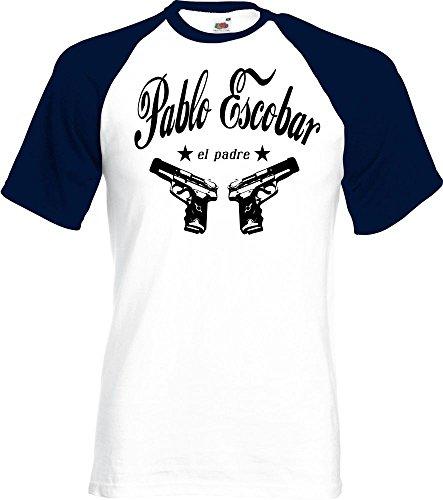 Coole Fun T-Shirts Pablo Escobar EL Padre Cocaine t-Shirt Kokain Baseball, Grösse: M
