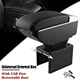 narrow center console - Sporacingrts Universal Armrest Box Front Center Console with Charging 7 USB Ports Built-in LED Light, Cup Holder