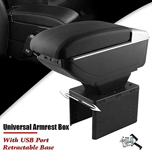 Sporacingrts Universal Armrest Box Front Center Console with Charging 7 USB Ports Built-in LED Light Cup Holder