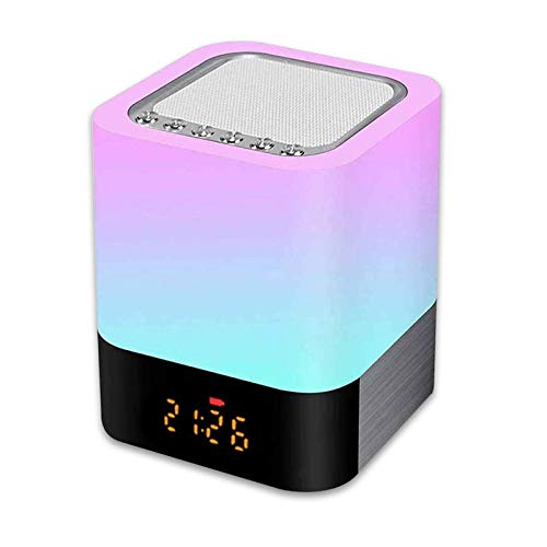 Luz Nocturna Altavoz Bluetooth, Gingbiss Lámpara Táctil Que Cambia de Color, Luz de Noche RGB Regulable, Reloj Despertador Digital, Regalo para Adolescentes