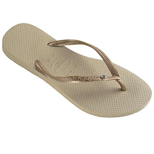 Havaianas Damen Slim Crystal Glamour Sw Sommer Gummi Diamante Flip-Flop - Sand Grau/Licht Gold - 41/42