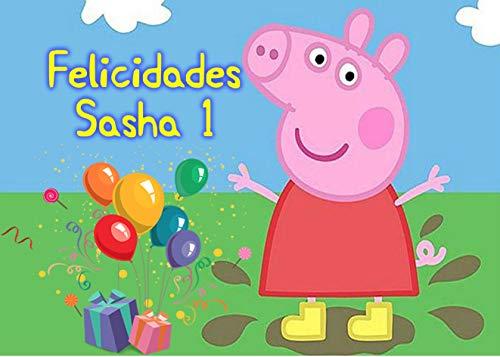 OBLEA de Peppa Pig Personalizada con Nombre y Edad para Pastel o Tarta, Especial para cumpleaños, Medida Rectangular de 28x20cm