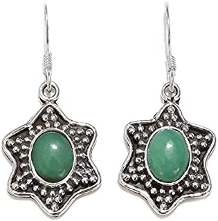 Pendientes de plata de ley para Navidades, pendientes colgantes, pendientes de ónix verde oval, pendientes colgantes Plata Aretes, Sterling Silver Earrings for Women