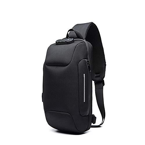 Anti Theft Sling Bag for Men, Waterproof Crossbody Shoulder Bag with USB Charging Port Causal Daypack Messenger Bag (black)