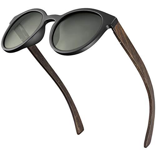 Balinco Bambus Sonnenbrille mit runden, polarisierten Gläsern - im praktischen Zubehör-Set inkl. Geschenke-Box - mit UV400 Schutz & TAC-Linsen - für Damen & Herren geeignet (G15 Linse)