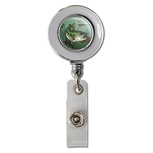 Bass Fish Swimming in River Retractable Reel Chrome Badge ID Card Holder Clip