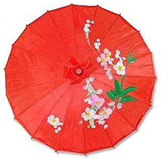 JapanBargain S-2593, Kid's Size Chinese Japanese Oriental Parasol Umbrella 22-inch, Red Color