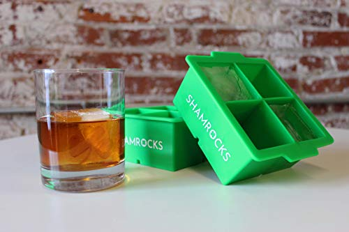 Rival and Revel Shamrocks Ice Tray, Green, Square - Best Way to Drink on The Rocks
