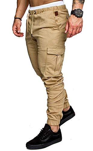 Socluer Homme Pantalons Casual Jeans Sport Jogging Slim Fit Militaire Cargo Montagne Baggy Pants Multi Poches Grande Taille M-4XL, Kaki, L