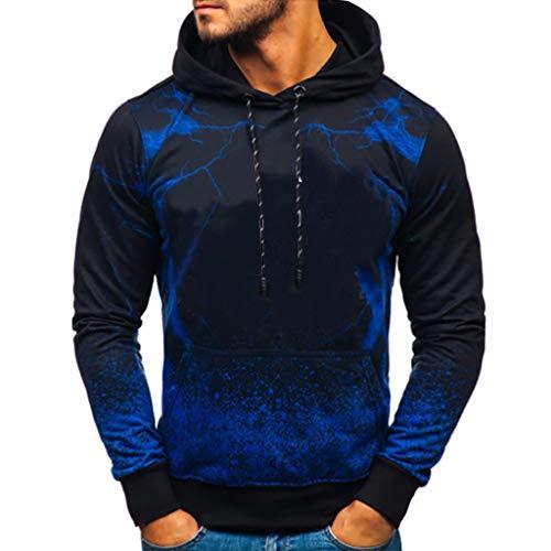 Xmiral Herren Pullover Farbverlauf Kapuzenpullover Slim Fit Pullover Bluse mit Kapuze Moderner Hoodie-Sweatshirt-Pulli Pullover-Shirt(Blau,L)